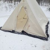 Youu0027ll notice a black snow liner around the bottom. Its up to you if you want that inside or outside the tent. I have seen people do it both ways. & Hot Tenting- A review of the SnowTrekker EXP Crew 10×13 canvas ...